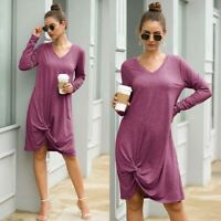 Long Sleeve Womens Dresses Dress Solid Long Ladies Loose Casual V Neck Maxi
