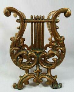 "VTG. Cast Metal Gold Lyre Harp Magazine Holder Rack Stand Music Decor 11"" x 8"""