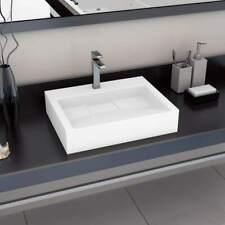 vidaXL Wash Basin 60cm Mineral Cast/Marble Cast White Countertop Bathroom Sink