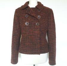 M&S Size 16 Wool Blend Jacket Blazer, Burnt Orange Tweed