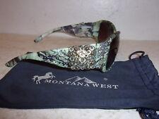 Montana West Sunglasses w/ UV400 Protection - Camo Rhinestone Concho Green - NEW