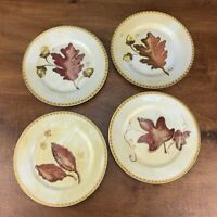 Crate & Barrel Autumn Leaves Cocktail or Salad Plates 8 inches set of 4