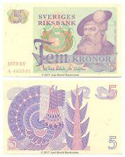 Sweden 5 Kronor 1979 P-51d First Prefix 'A' Banknotes UNC