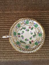 HAMMERSLEY & CO TEA CUP AND SAUCER GOLD GREEN ROSE 4809 BEADED ENGLAND TEACUP