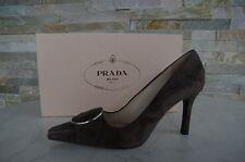 LUSSO PRADA décolleté n. 36 Scarpe Shoes 1i487e GRIGIO MARRONE GREY BROWN NUOVO UVP 540 €