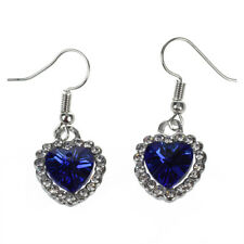 Classic Love Titanic Heart of Ocean Crystal Rhinestone Hook Earrings Jewelr I7t8 Sapphire Blue