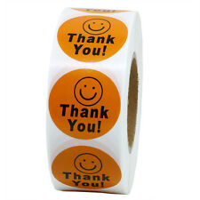 NEW Thank You Smiley Face Happy Stickers 1,000 Adhesive Labels Per Roll