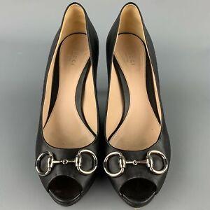 GUCCI Size 9 Black Leather Horsebit Peep Toe Pumps
