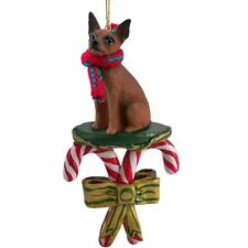 Miniature Pinscher Red Brown Dog Candy Cane Christmas Tree Ornament