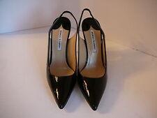 Manolo Blahnik EU 39 Black Patent Sling Back Heels NEW $795