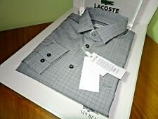 LACOSTE MENS LONG SLEEVED SLIM FIT GLEN PLAID POPLIN SHIRT FR 38/41 XS/M RRP£110