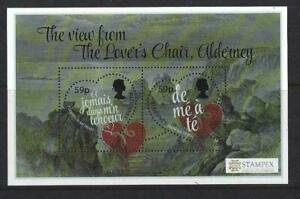 Alderney 2018 View from Lover's Chair Heart Odd Shaped Stamp Miniature sheet