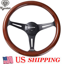 350mm KYOSTAR 14Inch Wood Grain Trim Black Spoke Classic Wooden Steering Wheel
