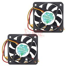 2x 60mm PC CPU Cooling Fan 12v 3 Pin Computer Case Cooler Quiet Molex Connector