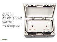 Outdoor Double Socket 13 Amp Switched Weatherproof Twin Uk Plug Point