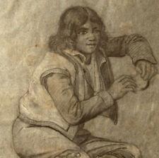 RITRATTO GIOVANE RAGAZZO Disegno Originale 1800 Drawing Young Boy
