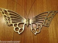 """Large 13x5"""" Brass Butterfly Wall Decor Vintage Enesco 1981 India"""