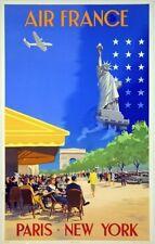 Affiche AIR FRANCE  - Paris New York - V.Guerra 1951