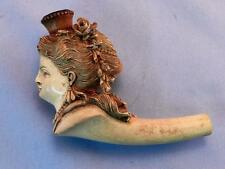 FINE Antique Carved MEERSCHAUM Pipe & Case~Victorian Woman's Head ~No Stem