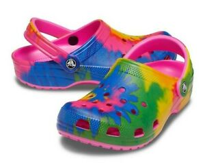 New Adorable Crocs Classic Graphic Clogs for Women, Size 9 - Tie Dye NWT!