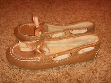 Sperry 9776840 Boat Shoes Fur Gold Glitter Womens Size 7M