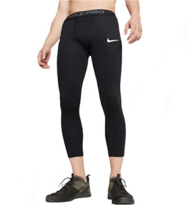 Nike Pro Men's 3/4 Black Base Layer Training Tights  M, L, XL Running Fitness
