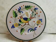 """Lavender Hand Painted Italy Plate Bird Flowers Fratelli Fanciullacci? 9.75"""" L620"""
