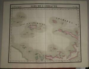 ADMIRALTY ISLANDS 1827 VANDERMAELEN LARGE ANTIQUE ORIGINAL LITHOGRAPHIC MAP N°24