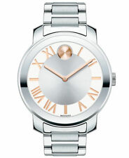 Movado Women's Bold Stainless Steel Bracelet Silver & White Watch 3600196