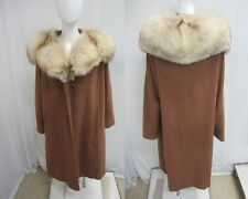 Real FOX Vtg HUGE Fur COLLAR Stroller WOOL Rothmoor SWING Jacket Cape COAT L XL