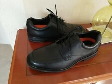 M & S Airflex Mens black leather lace up oxford style shoes Size 8 UK wide fit