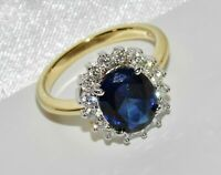9ct Yellow Gold FN Silver Blue Sapphire Diamond Ladies Halo Cluster Ring size N