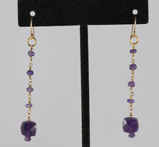 "Greenwood Designs Amethyst Chandelier Dangle 2"" Earrings 14k gf Gold French Hook"
