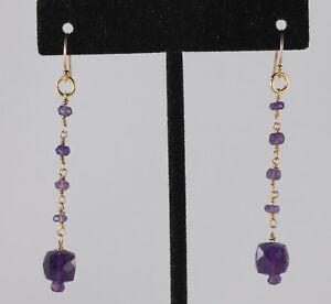 """Greenwood Designs Amethyst Chandelier Dangle 2"""" Earrings 14k gf Gold French Hook"""