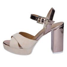 scarpe donna CESARE PACIOTTI 4 US 39 EU sandali beige rosa camoscio AB676-C