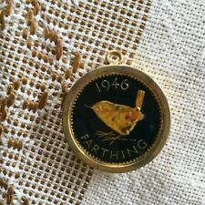 Half Penny Farthing Goldtone Charm 1946 RARE HTF Commemorative 1967 EUC