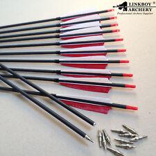 "12PCS Archery 30"" SP400 ID6.2 Carbon Arrows 5''Turkey Feather Bow Hunting"