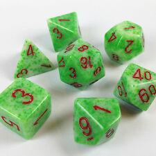 Chessex Dice Poly SPECKLED Green w/ Red Set 7 VERY VERY RARE COLOR SET