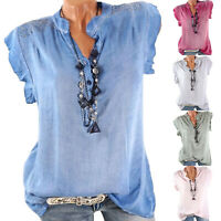Womens Ruffled Short Sleeve V-Neck Blouse Solid Causal Loose Fit Tops Plus Size