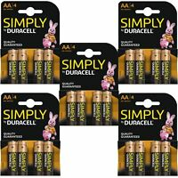 20 x Duracell Simply AA 1.5v Power Battery Pack Alkaline LR6 MN1500 Long Lasting