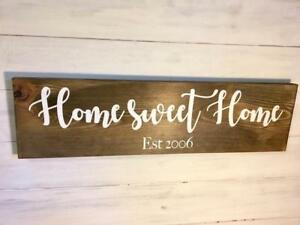 Home Sweet Home Est date Sign/Gift for couple/New Home Gift/Wedding gift/Stained