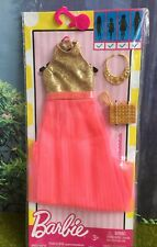 New Mattel Barbie Fashionista~Complete Look~Coral & Gold Glitter Dress Pack