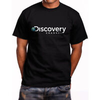 New Discovery Channel Logo Short Sleeve Men's Black T-Shirt Size S to 5XL