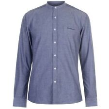 Mens DESIGNER Pierre Cardin Smart Casual Grandad Collar Oxford Shirt Light Blue XX Large