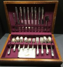 Wm Rogers I/S Beloved 52 pcs Silver Plate IS 1940s Monogramed G With Case