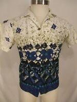 Hawaii Resort Shops Vtg 60s Blue Tiki Coin Button Barkcloth Hawaiian Shirt S