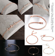18k Luxury Rose Gold Crystal Bracelet Tennis Heart Bangle Womens Diamante Charm