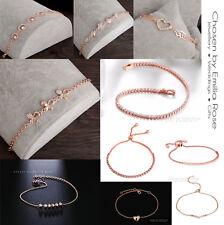 18k Luxury Rose Gold Crystal Bracelet Tennis Heart Womens Diamante Charm