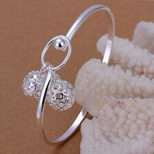 Women's Unisex 925 Sterling Silver Bracelet Bangle Beads L52