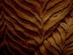Jim Thompson 013725 Tigris Amber Tiger Stripe Velvet Upholstery Fabric